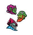 goblin leprecahun and wizard mascot collection vector image