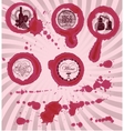 grungy imprints with splashes of wine glasses vector image