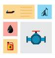 icon flat petrol set of liquid drop oil pump vector image