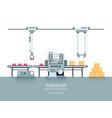 industrial production factory conveyor flat vector image vector image