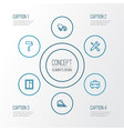 industry outline icons set collection of window vector image vector image