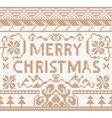 Knitting pattern with merry christmas vector image vector image