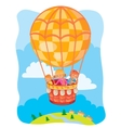 Little kids fly on the big air balloon vector image vector image
