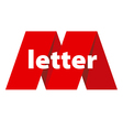 logo the letter M in the form of red tape vector image vector image