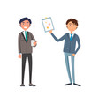 man showing business plan to manager with cell vector image vector image