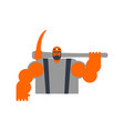 miner with pickaxe workman laborer mining vector image