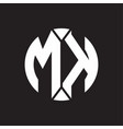 mk logo monogram with piece circle ribbon style vector image vector image