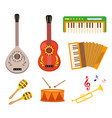 musical instruments icon set flat cartoon style vector image