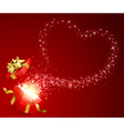 open gift present box with fly stars heart shape vector image vector image