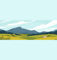 panoramic landscape with meadows and mountains vector image