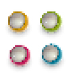 pixel techno balls icon green orange pink and blue vector image vector image