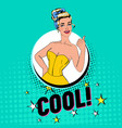 pop art pretty woman posing with thumb up sign vector image