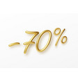 realistic golden text 70 percent discount number vector image vector image