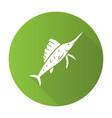 sailfish green flat design long shadow glyph icon vector image