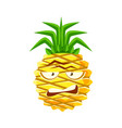 sceptic pineapple face cute cartoon emoji vector image vector image