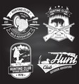 set hunting club badge on chalkboard vector image vector image