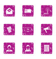 tv receiver icons set grunge style