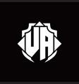 va logo monogram with shield line and 3 arrows vector image vector image