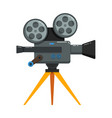 vintage movie camera in flat style isolated vector image