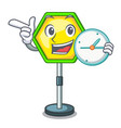 with clock cartoon traffic sign on traffic road vector image