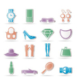 woman and female accessories icons vector image vector image