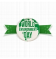 World Environment Day Earth Label and Ribbon vector image vector image