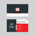 flat design business card with black and red color vector image