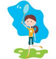 Cartoon girl plays badminton vector image