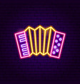 accordion neon sign vector image