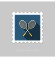 Badminton Racket flat stamp Summer Vacation vector image vector image
