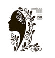 beautiful female face silhouette vector image vector image
