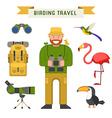 Birdwatching Travel Elements vector image vector image