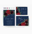 burgundy red and greenery floral wedding set vector image vector image