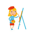 cartoon girl character holding palette and vector image