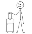 Cartoon of man or male tourist with travel
