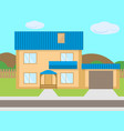 cartoon two-story house garage green lawn vector image