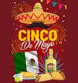 cinco de mayo poster with mexican sombrero vector image vector image