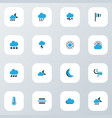 climate icons colored set with moon lightning vector image vector image