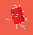 cola can on the run with smartphone health concept vector image vector image