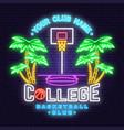 college basketball club neon design vector image vector image