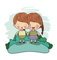 color picture couple kawaii girl braids hair with vector image vector image