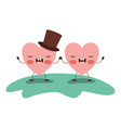 couple heart character kawaii holding hands and vector image vector image