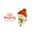 cute snowman stands behind signboard vector image vector image