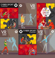 cybersport vr colorful flat composition poster vector image