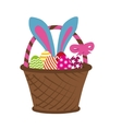 Easter rabbit in basket vector image