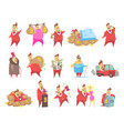 fat rich millionaire men in red suit funny vector image