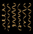 gold curling ribbons or party serpentine vector image vector image