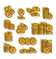 golden coins us dollar currency set money vector image