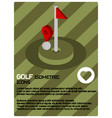 golf color isometric poster vector image
