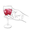 hand with glass of red wine vector image vector image